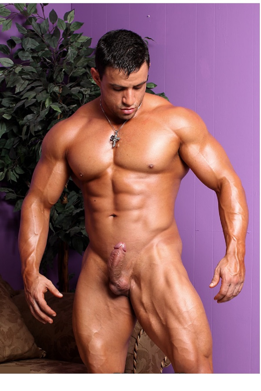 Body builders showing cock speaking the