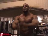 Zack Khan  Gym Posing for Trainer Dorian Yates