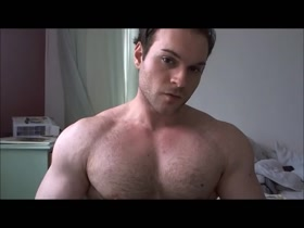 Michel Quadzilla young hairy pecs flexing (Mike Costantini)