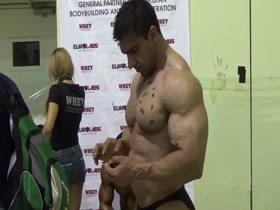 Monstrous looking Iranian Bodybuilder Tanning His Delicious Slabs Of Pec Meat