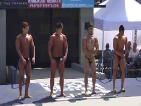 Teen bodybuilders at memorial day contest on venice beach