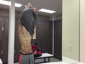 Huge MuscleGod Strips and Flexes in the locker room