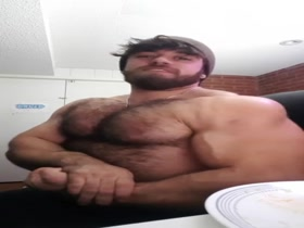 Alpha David flexes his hairy muscles
