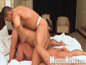 Three ultimate hunks having fun in the bedroom