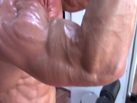 Sweaty triceps workout and flex