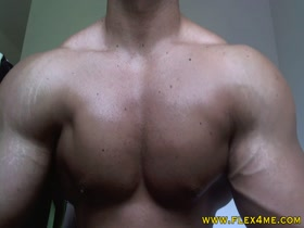 Huge, massive pecs flexing hard