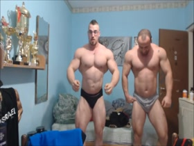 Dani joins his friends flexing session