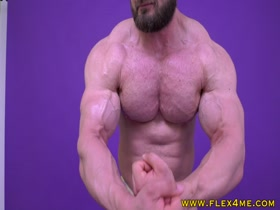 Massive Hairy pecs flexing hard - Muscle Update