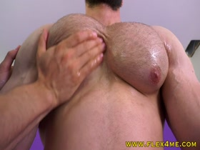 Meaty pecs pumping and getting worshipped