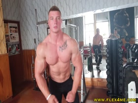 Massive Biceps getting a sweaty pump