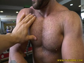 Hairy pecs pumping up and getting worshipped