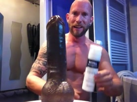 Guy with PA riding large dildo
