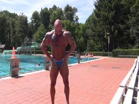 Skimpy posers at public pool