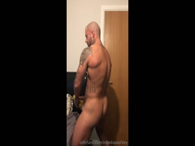 tatted muscle stud jerks off