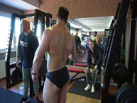 Young Bodybuilders in skimpy Briefs and Posers in the gym