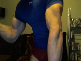 Pumping Hard Muscle in Hot Tight Blue Under Armour