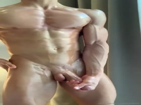 Super Cut & Oiled Up; Playing his Abs & Working his Huge Cock