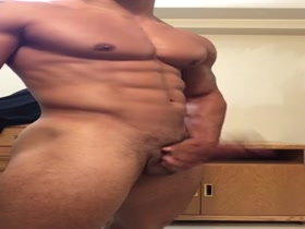 Very Hot Muscle Cub works his Huge cock until it blows