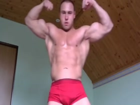 Young Stud Does Splits Shows His Muscles in Hot  Skimpy Red gear