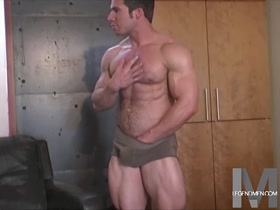 Cocky Muscle Stud Self Worships and Jerks Off