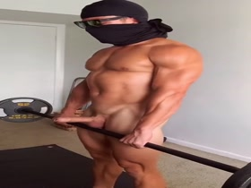 Nude Uncut Masked Man Deadlifts and Rows