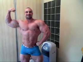 Very Big Body Builder, Very small dick jacks off
