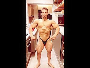 Joao Natural flexing in his kitchen
