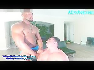two muscular hunks one black one white jerk and cumshot big load