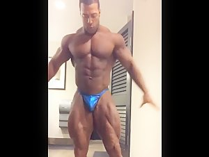 Black Bodybuilder Titan showing off his muscles plus his BBC