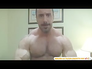 Sexy Alpha Muscle God flexing outstanding muscles, oiled and worship