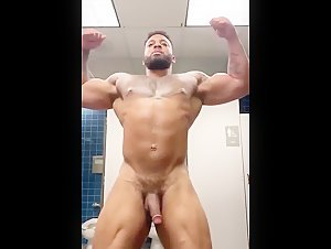 flexing nude in public gym shower