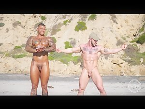 MUSCLED GUYS NUDE AT  BEACH